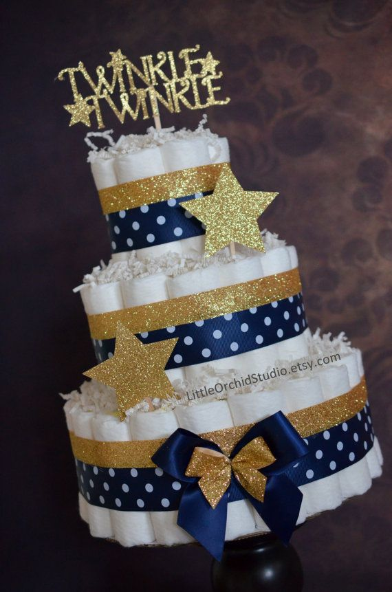 Twinkle Twinkle Little Star/ Baby Shower/ Diaper Cake/ Navy and Gold/ Star/ Mommy to be/ Neutral Diaper Cake/ Gifts for Baby/ Baby