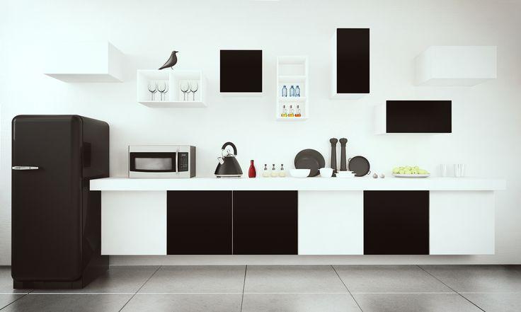 Black and White Kitchen - via @TETREES http://pixersize.com/tetrees