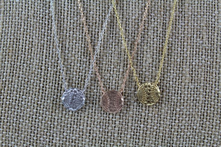 "This dainty Baseball pendant necklace is approximately 16"". This must have necklace is high quality and light weight. Made in Korea. Available in Silver, Gold, and Rosegold."
