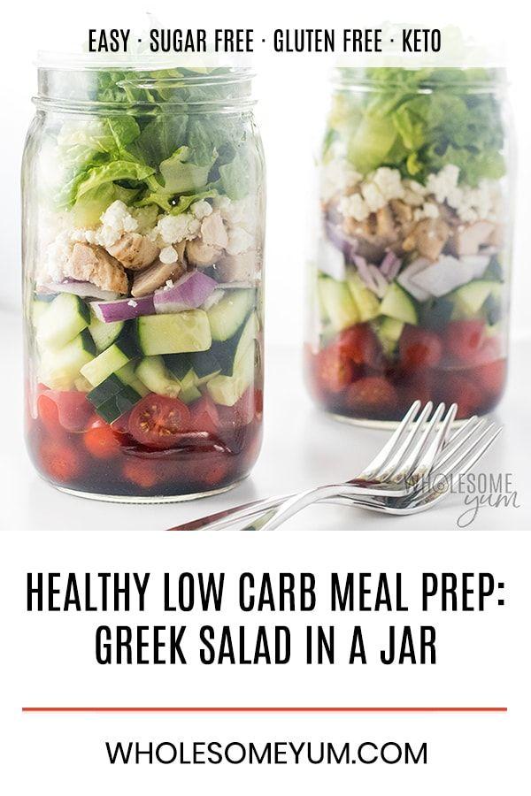 Healthy Low Carb Meal Prep Greek Mason Jar Salad Recipe With