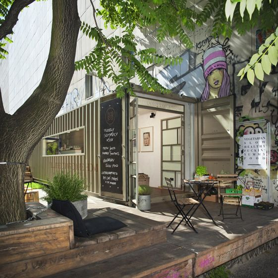 The restaurant is housed in a converted shipping container smartly fitted out with birch flooring and copper detailing, and benefits from the addition of a nice decked area with bench tables and stools, designed and hand-built by Alexander Spiliopoulos...