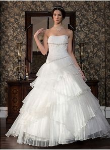 BESS - Empire waist Strapless Chapel train Satin Tulle Wedding dress