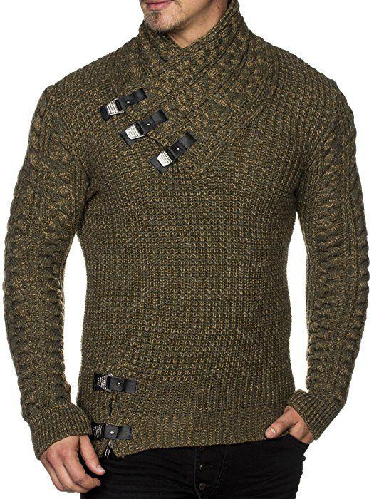 39e6630e00f7 TAZZIO Herren Styler Grobstrick-Pullover mit stylishem Kragen u  Melange-Strick Muster 16477 Khaki S  Amazon.de  Bekleidung