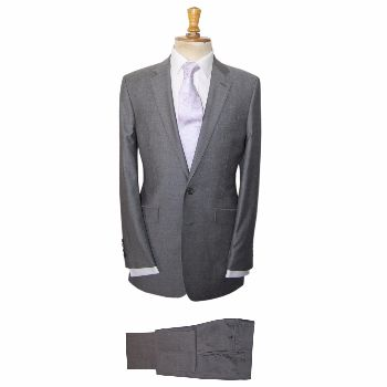 Gresham Blake Grey Mohair Berwick Suit: A classic grey mohair suit from our staple 'Berwick' range. The ideal wedding suit.  -Slim contemporary fit -Grey/silver paisley lining with burgundy trim -Internal pockets -Double vent -Two button fastening -Pale blue melton