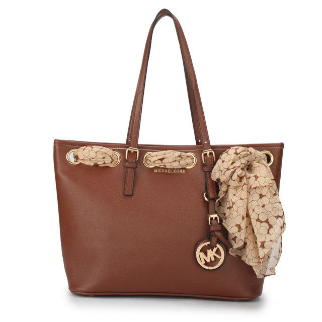 Bags From Leading Michael Kors Jet Set Scarf Large Brown Totes With Top Material Online For