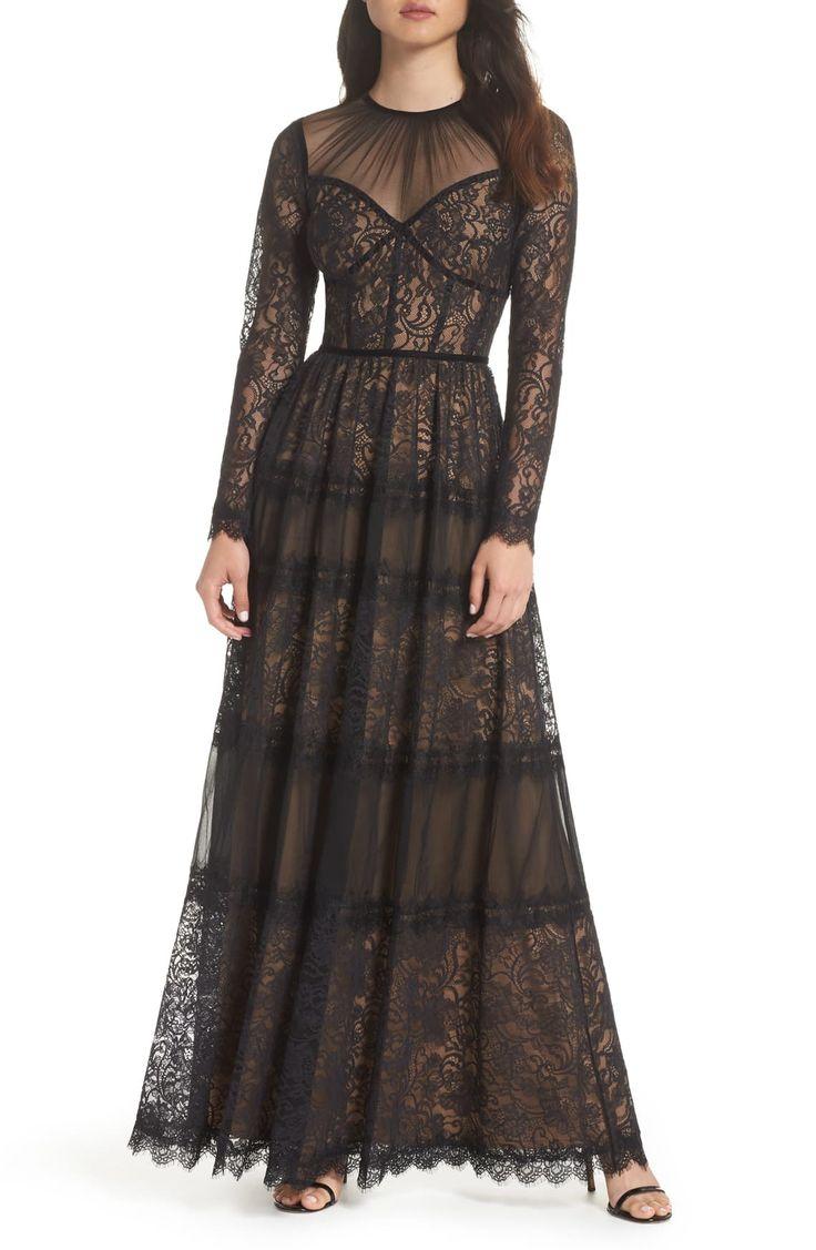 Tadashi Shoji Long Sleeve Lace Gown Nordstrom Long Sleeve Lace Gown Lace Gown Gowns [ 1127 x 736 Pixel ]