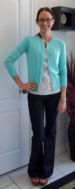 outfit posts: teal cardigan, grey polkadot blouse, trouser jeans   Outfit Posts