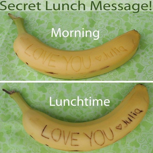 Great idea! All you need are a banana and a pointed-but-not-too-sharp object to do the writing. Perfect for back to school lunch!: Kids Lunches, Lunches Messages, Packs Lunches, Schools Lunches, Cute Ideas, Lunches Boxes, Love Note, Lunchbox, Kids Food