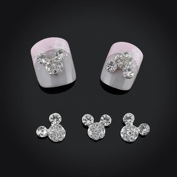 3D Mickey Mouse metal Nail Decoration Rhinestones Nail Art Quantity: 2 pcs 100% Brand New and High Quality Size: 6*14mm Compatible with Both Natural and Artific