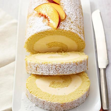 Peach Cake Roll: Based on a recipe from Michigan Peach Sponsors, this cake roll is a flavor chameleon. Swirl in any ice cream you like, and top the cake with any complementary fruit.