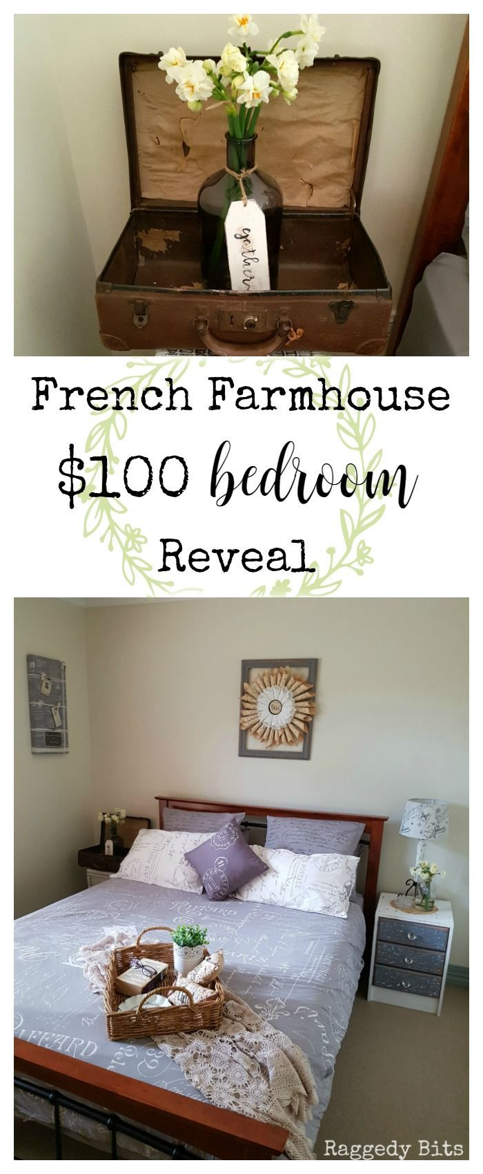 See how I gave my daughters room a French Farmhouse $100 Bedroom Makeover | http://www.raggedy-bits.com