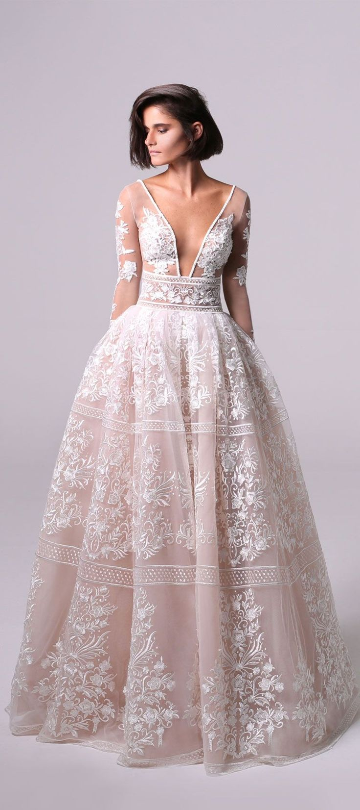 long lace sleeves two-piece full princess ball gown with a dramatic see-through …