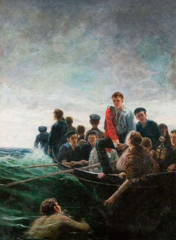"""Birkenhead Life Boat"" (1852). The call of ""Women and children first"" when a ship sinks is called the Birkenhead Drill. It was named after the actions of the young soldiers on the transport ship ""Birkenhead"", many of them 74th Highlanders, which foundered off the South African coast in 1852. They stood to attention on their sinking ship to avoid swamping the lifeboats containing the women and children."
