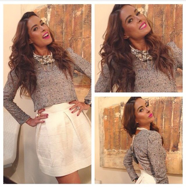 I love the open back on the crop sweater with the flare skirt!!! And I love galilea montijo! Fashion inspiration
