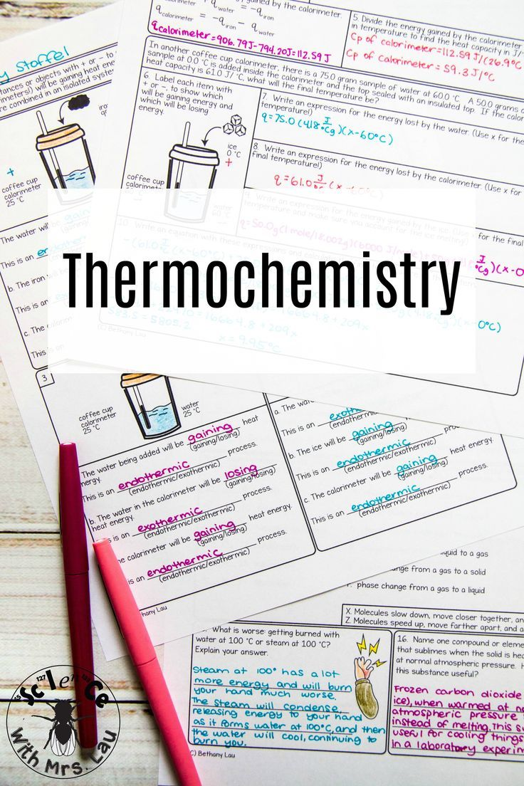 This Giant Set Of Thermochemistry Homework Pages Include Coffee Cup Calorimetry Problems Phase D Chemistry Lessons Chemistry Middle School Science Experiments
