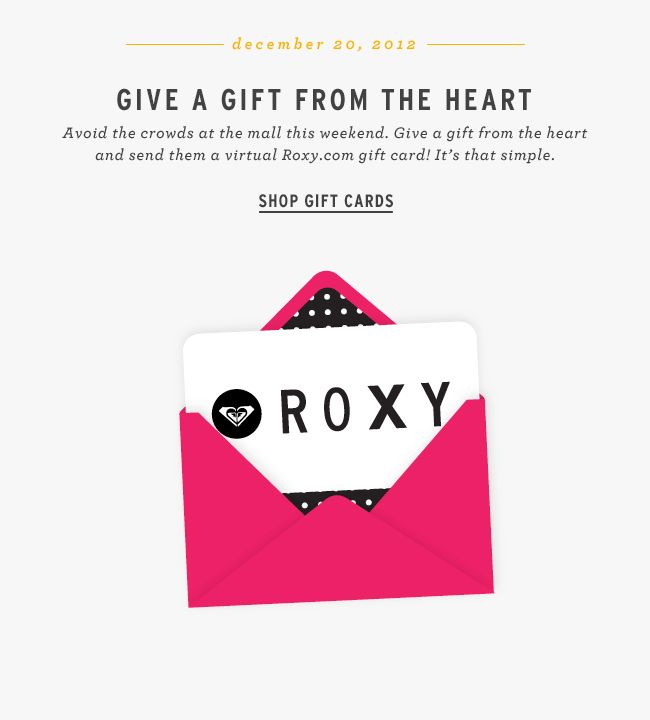 Roxy animated GIF - gift card email