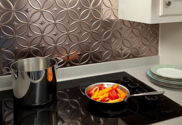 faux metal backsplash panels and tiles interiors pinterest