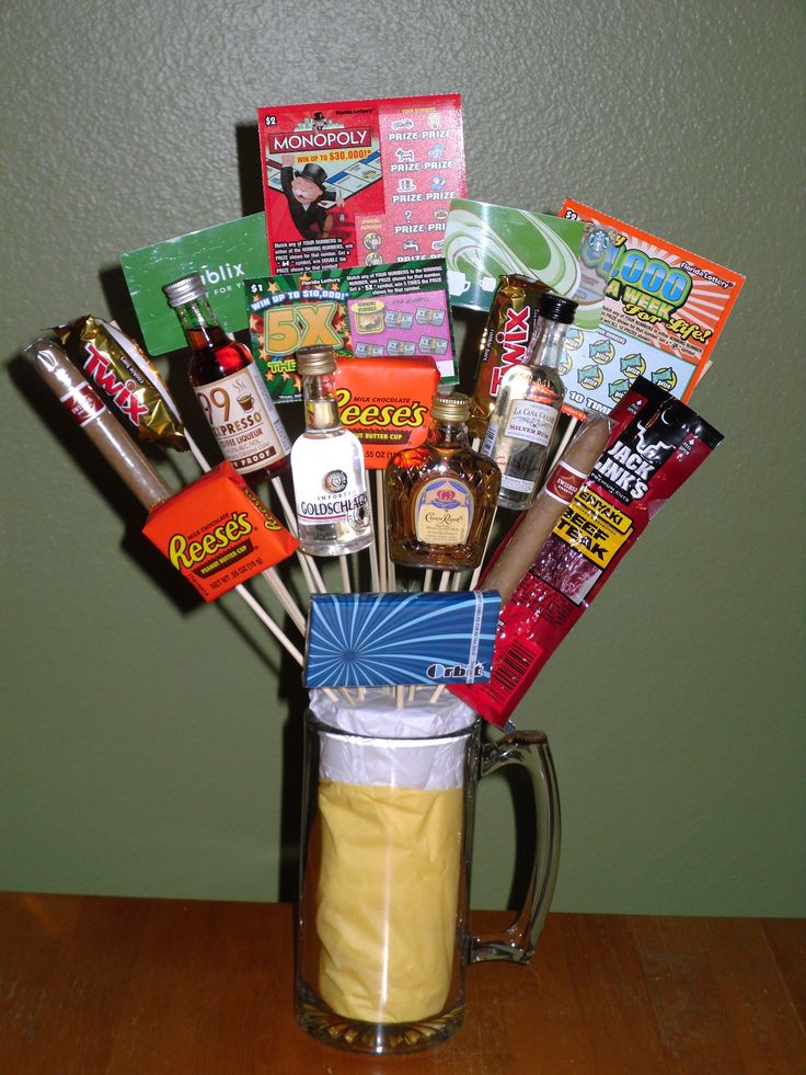 "My husband's ""man bouquet!"" (picture only)  Put yellow paper inside lg. beer mug, & inside that, add shaped-to-fit (to top of mug) flower- styrafoam. Cover from top of yellow paper over styrafoam, with white tissue paper (to look like foam on beer). THEN, glue a few 'vices' your sweetie would like onto a small dowel (cigar, fav candy, lotto tickets, sm alcohol bottles...) Now THAT'S a manly bouquet!"