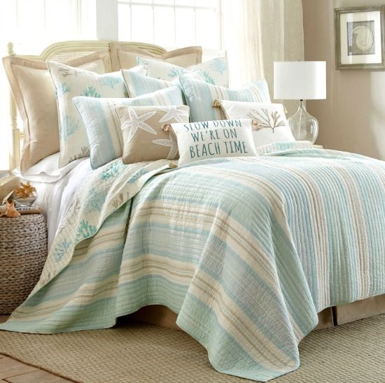 Beach Quilt Set for a Serene Bedroom Ambiance... http://www.beachblissdesigns.com/2017/02/beach-quilt-set-with-light-blue-beige.html Stripes and Coral Pattern Quilt Set!