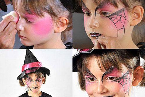 Trucco da strega per Halloween con ragnatele a forma di farlalle