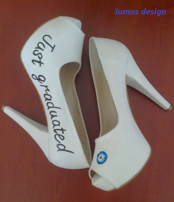 Lumos Design, custom hand painted graduation shoes