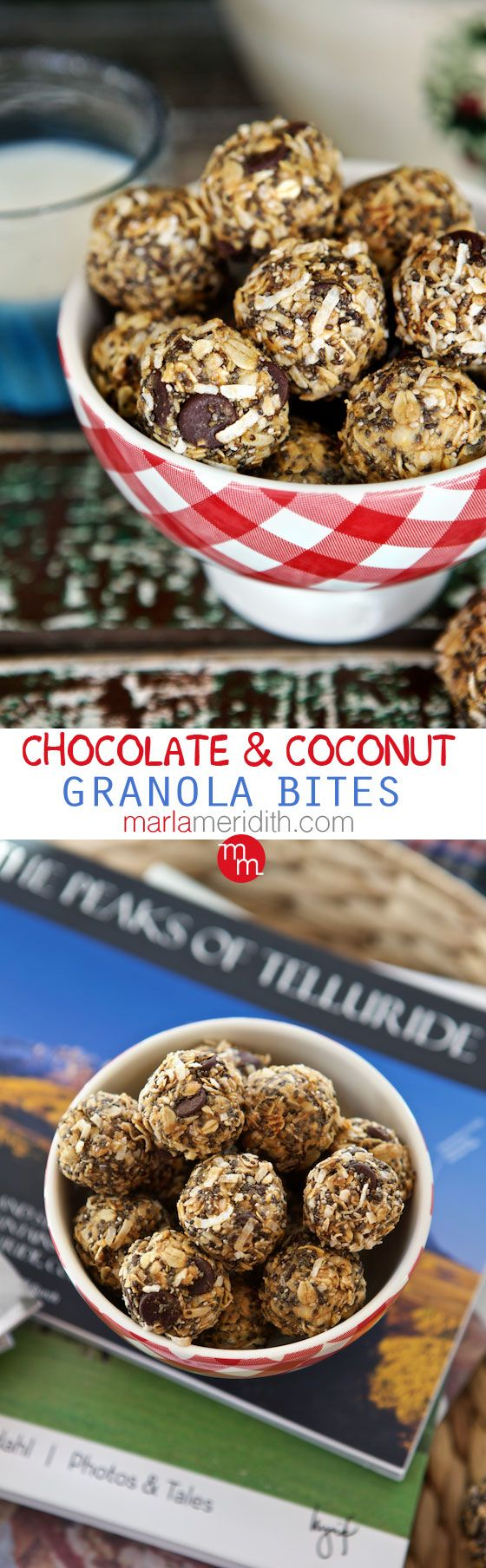 No-Bake Chocolate & Coconut Granola Bites | Kids lunchbox favorite! MarlaMeridith.com ( @MarlaMeridith )