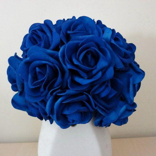 """100 pcs Royal Blue Wedding Arrangement Flowers Artificial Foam Rose Head Diameter 3"""" For Bridal Bouquet Table Centerpiece"""