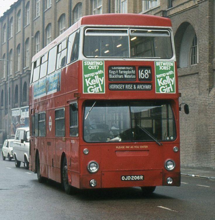https://flic.kr/p/aRMcXZ   London Transport . DMS2206 OJD206R. York Way , Kings Cross , London . 09th-July-1981 .   Daimler Fleetline FE30GR  -  Met-Camm. H68D .   Heading northwards on York Way , Kings Dross , London  DMS2206 on Route 168A carries an unusual destination display .   09th-July-1981 .