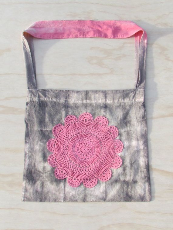 Hand Dyed Doily Tote Bag...hippie boho upcycled by doilydreaming