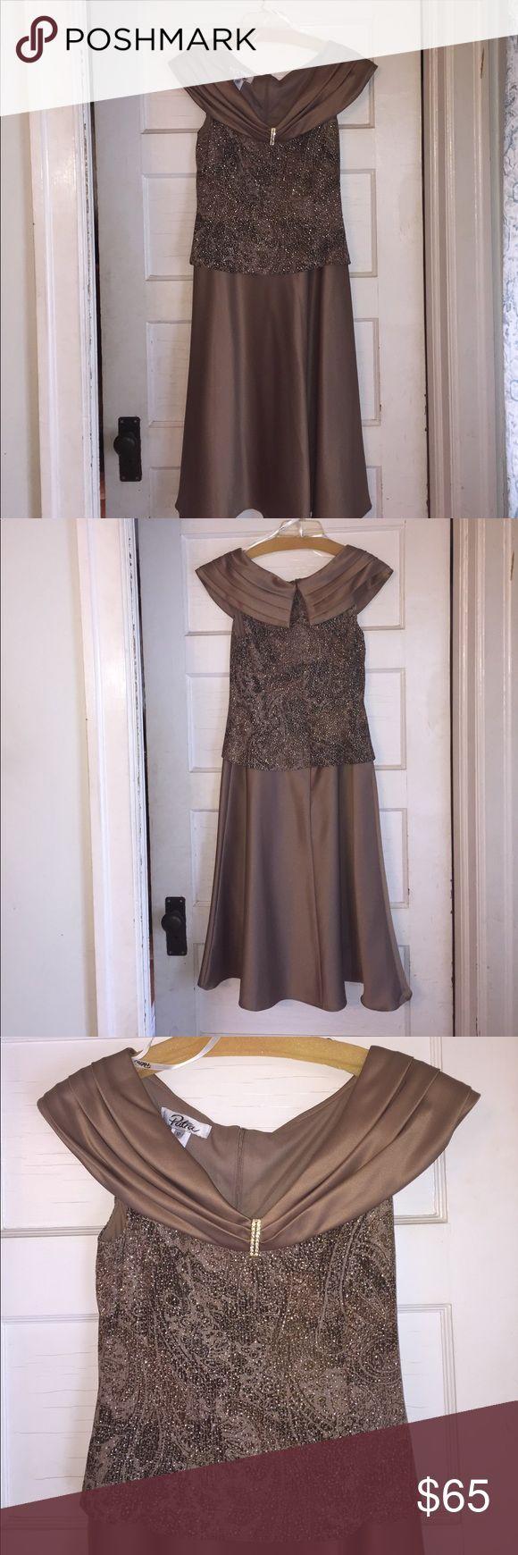 Worn once. Patra metallic formal dress. Gold metallic 43 in. formal dress. This is a great dress for a wedding, afternoon tea, cruise dinner or any formal gathering. Patra Dresses Wedding