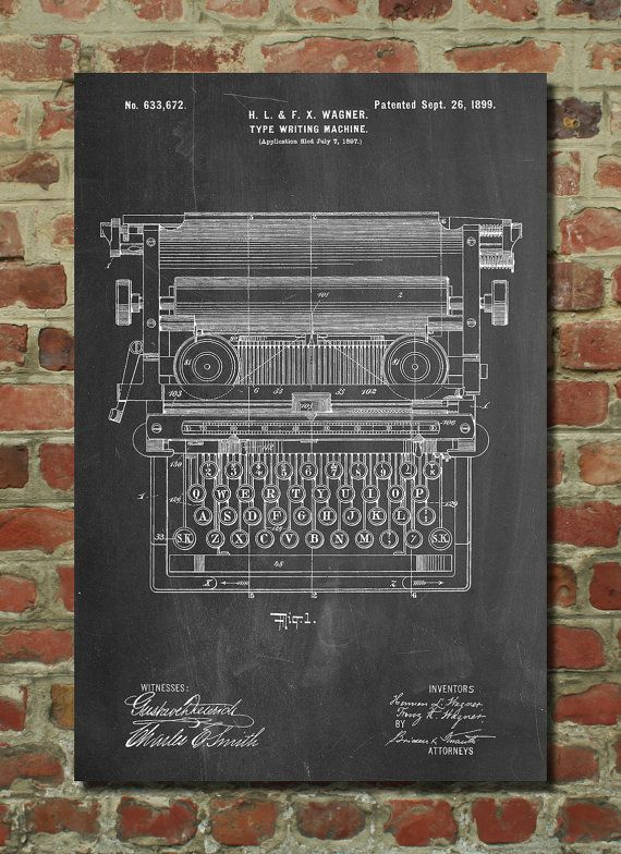 typewriter patent poster typewriter print home office decor secretary gift antique typewriter living room wall art pp1118 art force office decoration