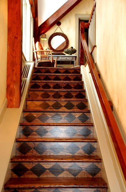 Stairs - This is my style!  Wood on wood.  Love it
