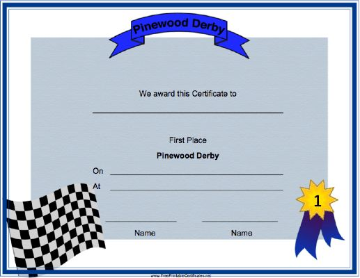 55 best images about Cub Scout Pinewood Derby – 1st Place Certificate