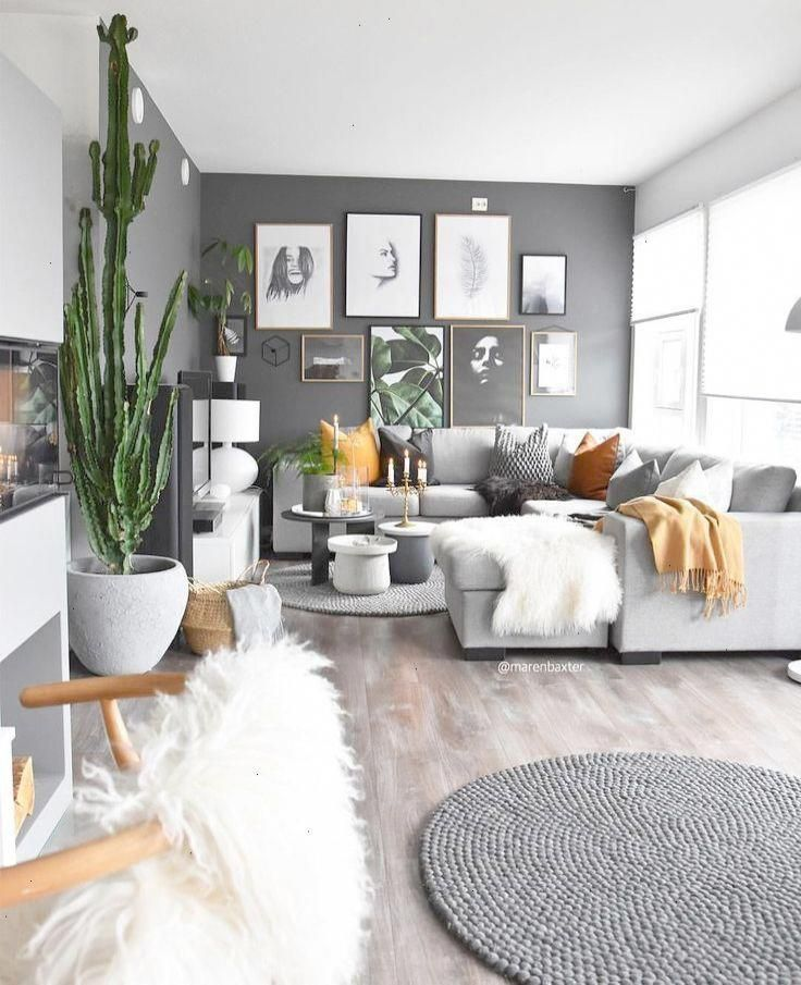 Gray Living Room Stained Hardwood Floors Dark Gray Accent
