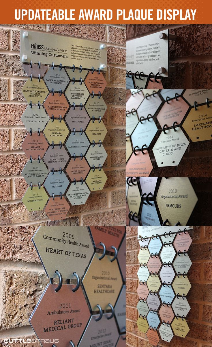 """Award Plaques: This unique design allows for a continuous way to update and display awards. The individual hexagons, which are attached to one another using plastic jump rings, are made of 3mm brushed aluminum dibond and measure about 3"""" x 2.6."""""""