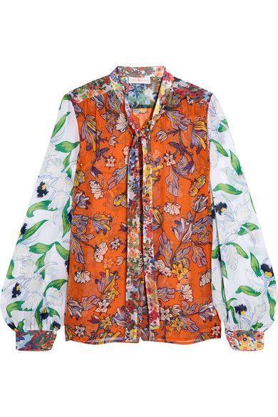Tory Burch - Kia Pussy-bow Floral-print Silk-chiffon Blouse - Orange - US
