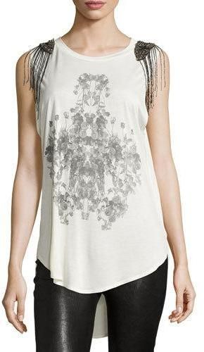 Haute Hippie Embellished-Shoulder Graphic Tank, Swan/Black