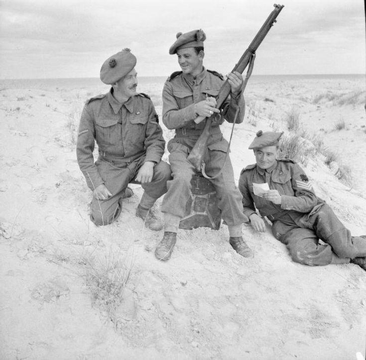 Lance Corporal Charles Jeffrey M.M, Private George McCulloch D.C.M. and Sergeant John Spowart M.M. of the Black Watch who all won medals for bravery at El Alamein, 26 December 1942.