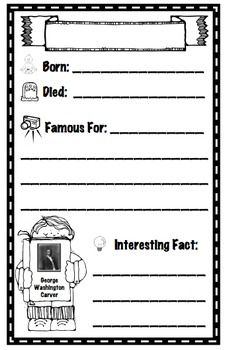 These are seven little biography recording sheets about key figures studied during Black History Month, appropriate for grades 1-3. These could be ... @Alissa Fewell or social studies historical figures of any time of year. Lower level readers to help with remembering figures important details.