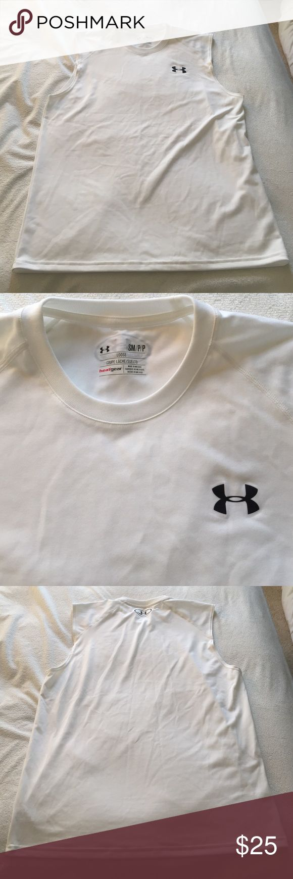 Men's Sleeveless Under Armour Tank Men's Sleeveless Under Armour Tank in white. NWOT. Heat Gear fabric and a loose fit cut. Perfect condition! Under Armour Shirts Tank Tops