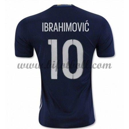 Billiga Fotbollströjor Sverige 2016 Ibrahimovic 10 Kortärmad Borta Landslaget Tröja