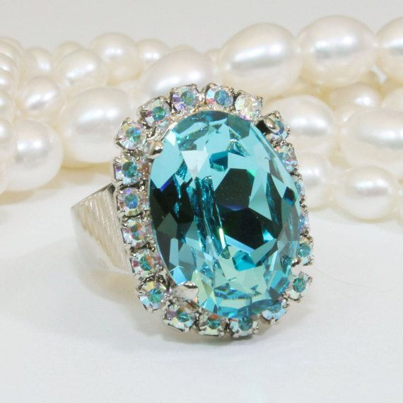 Aqua Crystal Ring Blue Light Turquoise AB Adjustable by TIMATIBO