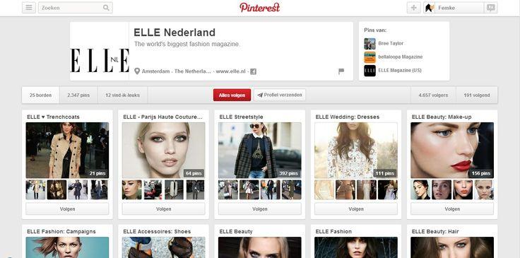 Elle Nederland gebruikt Pinterest om fashionistas nieuwsgierig te maken naar het tijdschrift. Iedere board van Elle Nederland is een rubriek die die maand in het magazine staat. Door deze mooie foto's en outfits te zien, wil men de klanten overtuigen naar de winkel te gaan en hier meer over te lezen in het magazine zelf. #Elle #Pinterest #communicatie