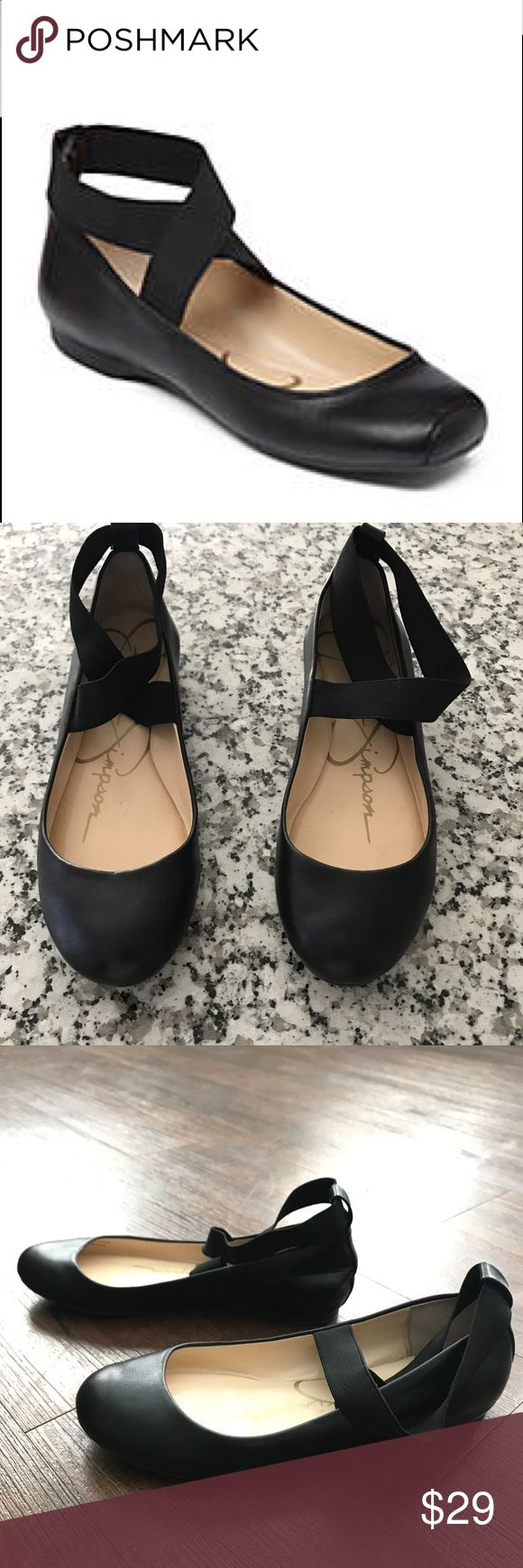 Jessica Simpson Black Leather Ballet Flats size 8 Worn once for photo shoot. Great condition    These ballerina-inspired flats are perfect for everyday wear. The lightly cushioned footbed offers a comfortable feel while the crisscross straps give them a touch of trend-right appeal. 0.3-in. heel Slip-on Lightly cushioned footbed Leather Imported Jessica Simpson Shoes Flats & Loafers