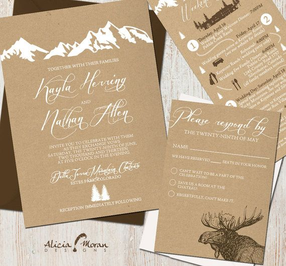 Wedding Invitation Suite: (Mountains, Colorado, Kraft paper, Rustic, Outdoor) Mountain Retreat PRINTING