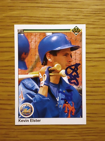 Kevin Elster: (1986-1992 New York Mets) 1990 Upper Deck baseball card signed in blue sharpie. (From my All-Time Mets Roster collection.)