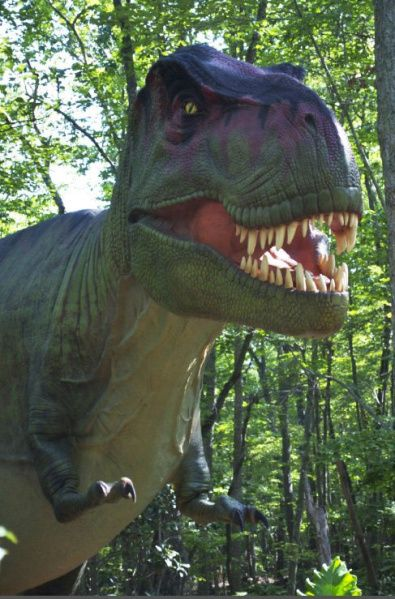 A tyrannosaurus rex will loom over other animatronic Dinosaur museum ohio