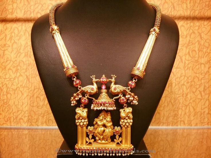 Traditional gold Temple Necklace Designs, Temple Antique Necklace Designs.