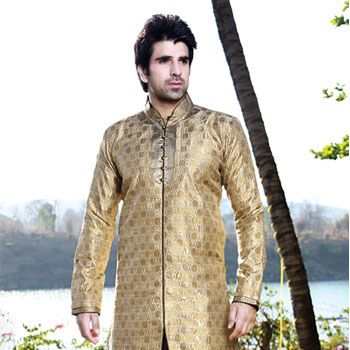 Beige Nylon Jamewar Readymade Indo Western Suit
