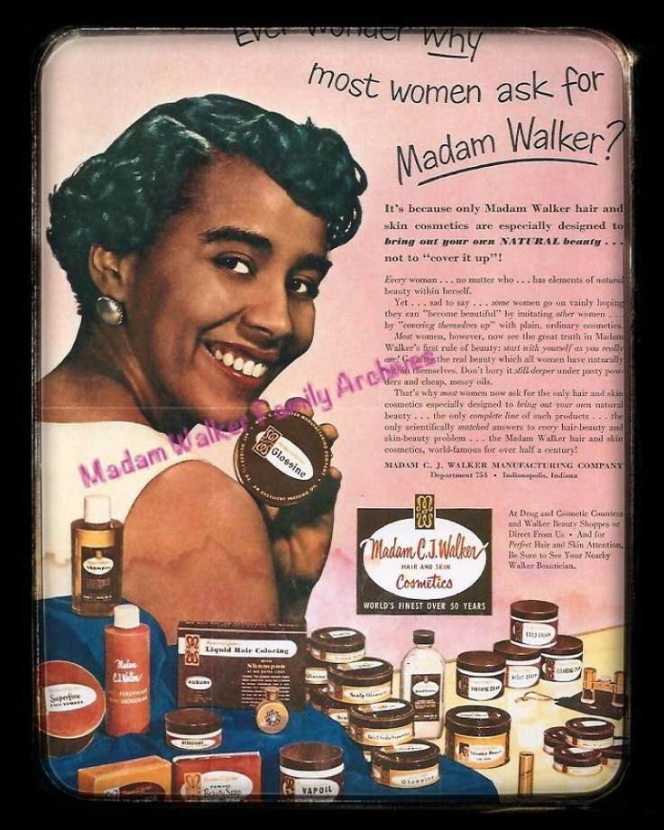 Poster ad for Madame CJ Walker's products.